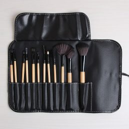 Makeup 12p Brushes Set Leather Pouch Case