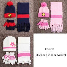 Kids Beanie Hat Shawl Glove Full Package
